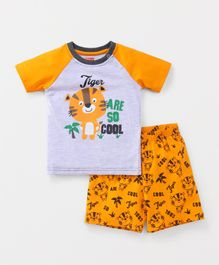 Babyhug Raglan Sleeves T-Shirt And Shorts Tiger Print - Grey Yellow