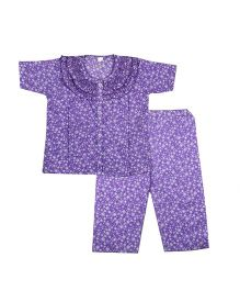 BownBee Printed Frill Design Night Suit - Purple