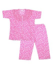 BownBee Printed Frill Design Night Suit - Pink