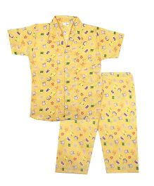 BownBee Cute Bunny & Alphabet Printed Night Suit - Yellow