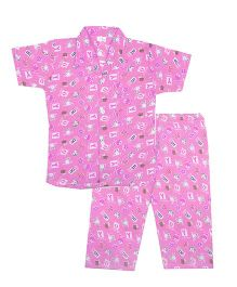 BownBee Cute Bunny & Alphabet Printed Night Suit - Pink