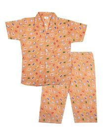 BownBee Cute Bunny & Alphabet Printed Night Suit - Orange