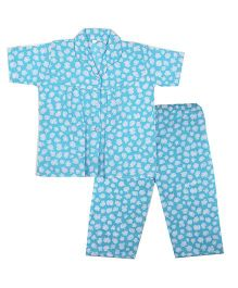 BownBee White Blossom Printed Night Suit - Blue