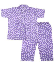 BownBee White Blossom Printed Night Suit - Purple
