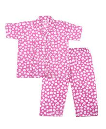 BownBee White Blossom Printed Night Suit - Pink