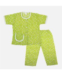 BownBee Floral Printed Night Suit - Green