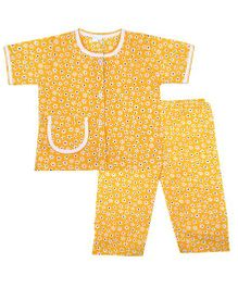 BownBee Floral Printed Night Suit - Yellow