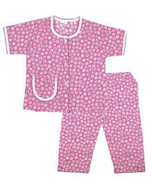 BownBee Floral Printed Night Suit - Pink