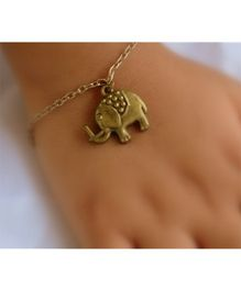 Pretty Ponytails Antique Elephant Bracelet - Golden