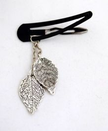 Pretty Ponytails Tic Tac Clip With Engraved Leaf Dangler - Silver