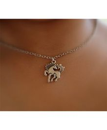 Pretty Ponytails Unicorn Pendant With Chain - Silver