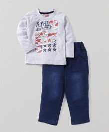 Babyhug Full Sleeves T-Shirt & Jeans Set - Grey Blue