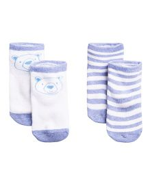 Fox Baby Ankle Length Socks Bear Face Design Set Of 2 - Sky Blue