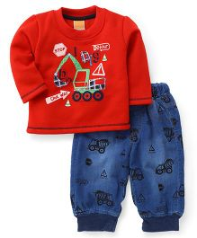 Little Kangaroos Full Sleeves Tee With Pants - Red