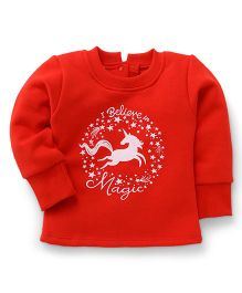 Little Kangaroos Full Sleeves Sweatshirt I Believe In Magic Print - Red