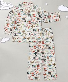 Hugsntugs Full Sleeves Night Suit Vehicle Print  - White