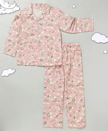 Hugsntugs Full Sleeves Night Suit Rainbow Print - Light Pink