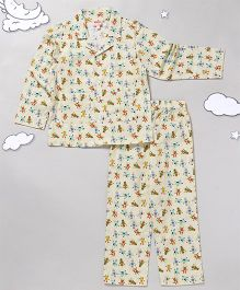 Hugsntugs Full Sleeves Night Suit Robot Print - Multi Color