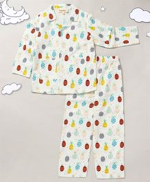 Hugsntugs Full Sleeves Night Suit Pineapple Print - White
