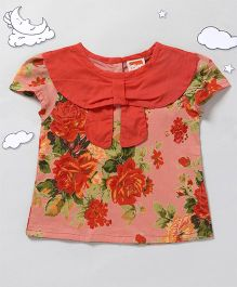 Hugsntugs Short Sleeves Top Floral Print - Peach Red