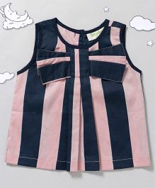 Hugsntugs Cute Top With Bow At Front - Pink & Navy