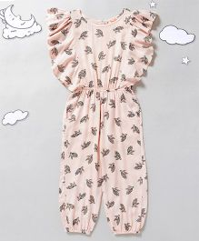 Hugsntugs Flutter Sleeves  Jumpsuit Turtle Print  - Pink