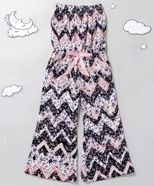 Hugsntugs Off Shoulder Chevron Jumpsuit - Pink Black White