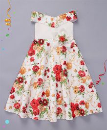 Enfance Digital Print Sleeveless Party Wear Gown - White & Red