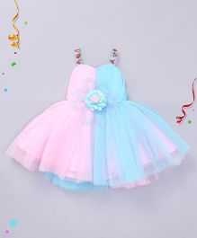Enfance Stylish Dress With Flower Applique - Pink & Blue