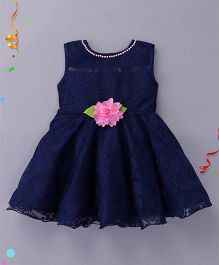 Enfance Sleeveless Party Wear Dress With Flower Applique - Navy Blue