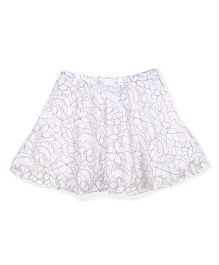 Silverthread Stylish Net Skirt - White