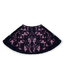 Silverthread Beautiful Flared Net Skirt - Navy Blue & Pink