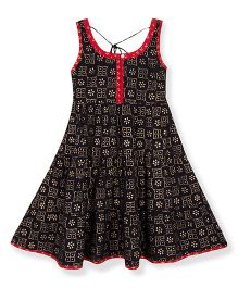 Silverthread Printed Flared Cotton Dress - Black & Red