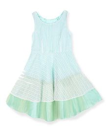 Silverthread Embroidered Flared Dress - White & Green