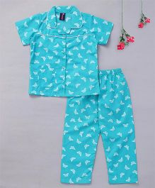 Enfance Core Butterfly Print Night Suit - Blue