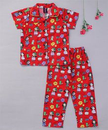 Enfance Core Girls Printed Half Sleeves Collared Night Suit - Red