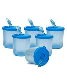Small Wonder Baby Snack Jar With Dispenser Transparent Pack Of 6 - Blue