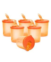 Small Wonder Baby Snack Jar With Dispenser Transparent Pack Of 6 - Orange