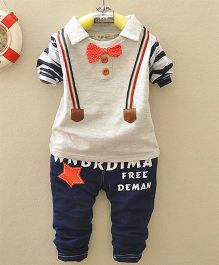 Dells World Mock Gallis Attached Full Sleeves Tee With Pants & A Bow - Grey & Blue