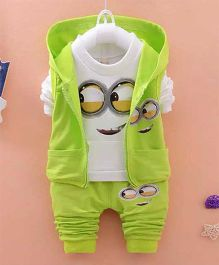 Pre Order - Dells World Cute Cartoon Print Full Sleeveless Tee With Hoodie & Pant - White & Green