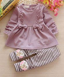 Pre Order - Dells World Frilled Full Sleeves Top With Bows Attached & Stripped Pants With Heart Applique - Purple & White