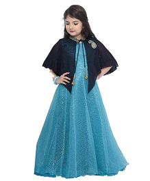 Betty By Tiny Kingdom Sleeveless Gown With Cape - Blue