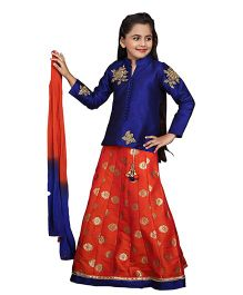 Betty By Tiny Kingdom Full Sleeves Lehenga Choli Set- Blue Orange