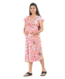 Uzazi Short Sleeves Maternity Dress Floral Print - Pink