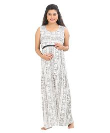 Uzazi Sleeveless Maternity Dress Crochet Lace Design - Grey