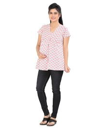 Uzazi Short Sleeves Maternity Nursing Top All Over Heart Print - Pink