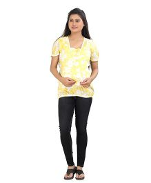 Uzazi Puff Sleeves Floral Print - Yellow White