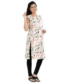Uzazi Cap Sleeves Maternity Kurti Printed - Cream