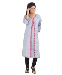 Uzazi Three Fourth Sleeves Maternity Nursing Long Kurta - Grey