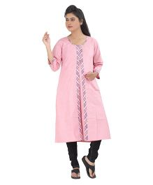 Uzazi Three Fourth Sleeves Maternity Nursing Long Kurta - Pink